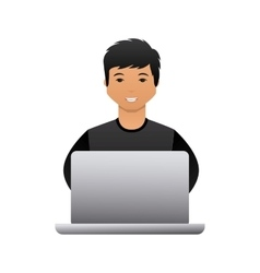 Cartoon man with laptop vector