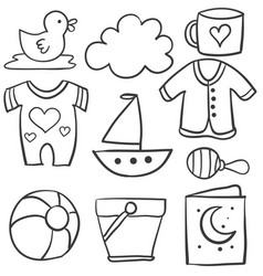 collection of baby theme doodle set vector image vector image