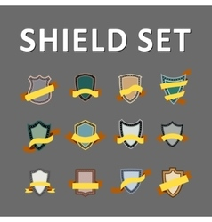 Colorful shields and ribbons vector