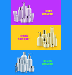 Cosmetic bottle mockup banner vector