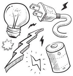 Doodle power electricity lightbulb battery bolt vector