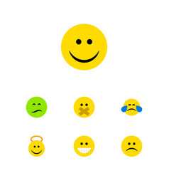 flat icon face set of grin joy cold sweat and vector image