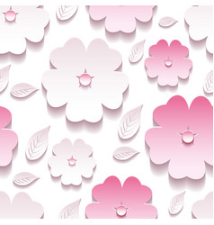 Floral background seamless pattern pink 3d sakura vector