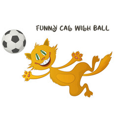 Funny cat with soccer ball vector