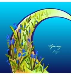Hand drawn squill blue flowers vector image