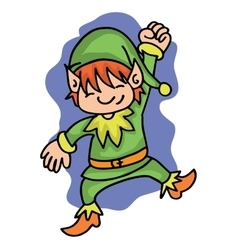 Happy elf with green costume vector