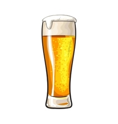 High glass of cold beer with foam and bubbles vector image vector image