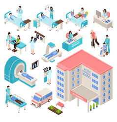 Hospital isometric set vector
