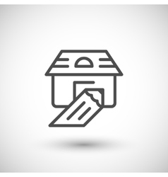 House sketch line icon vector