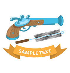musket and ramrod on military theme vector image