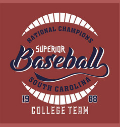 National champions superior baseball vector