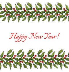 new year and christmas decoration with holly vector image vector image