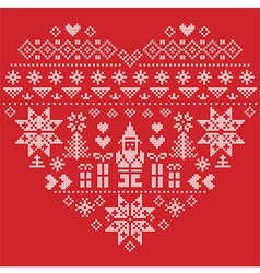 Nordic pattern in hearts shape with Santa on red vector image