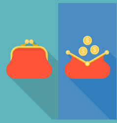 open and close purse with coins vector image