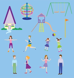 People in village playground vector image