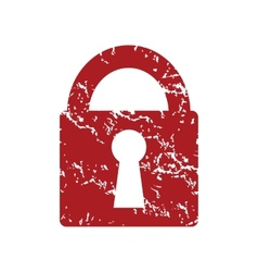 Red grunge lock logo vector image