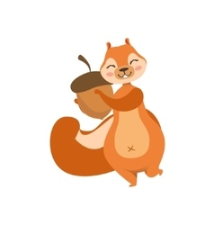 Red squirrel holding an acorn humanized cartoon vector