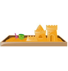 sandbox with sandcastle and bucket vector image