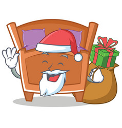 Santa cute bed character cartoon vector