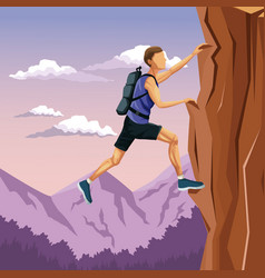 Scene landscape man climbing on a rock mountain vector