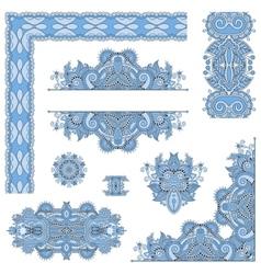 Set of blue colour paisley floral design elements vector