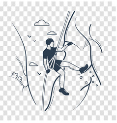 Silhouette of a climber linear style vector