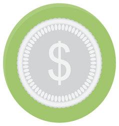 Silver coin dollar icon vector