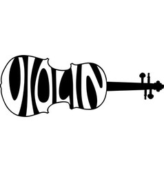 violin text silhouette vector image