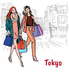 women in tokyo vector image vector image