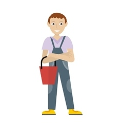 Male member of cleaner service staff in uniform vector