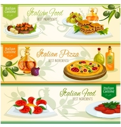 Italian cuisine dishes banner set for food design vector image