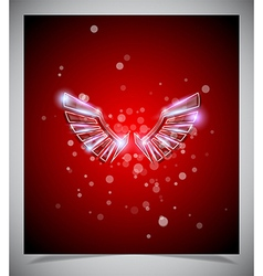 Abstract red background with glass wings vector image