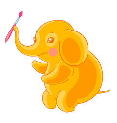 Thick cute orange elephant holds the brush in the vector
