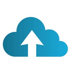 Color silhouette with cloud upload service vector