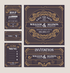 Calligraphic vintage floral wedding cards vector