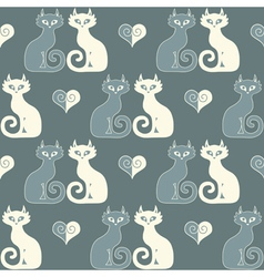 Seamless of a pair of cats and hearts vector image
