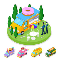 isometric street food donuts truck with people vector image
