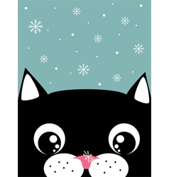 Cat with snowflake vector