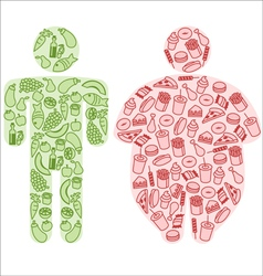 Diet and fatty food vector