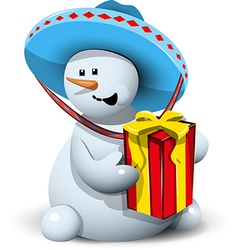 Snowman in a sombrero with gift vector