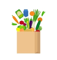 Paper bag with fresh food vector