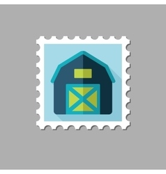 Barn house flat stamp with long shadow vector