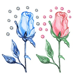 Pink blue roses buds with diamonds vector image