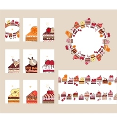 Templates with different fruit cake slices vector