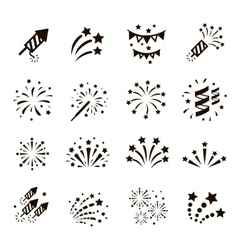 Firework icon set vector image