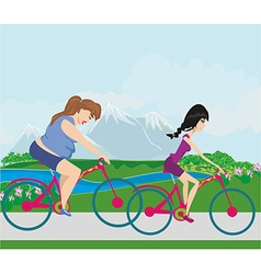 Overweight woman and her slim friend riding on vector