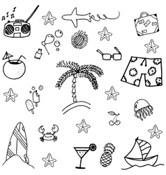 Black white doodle summer vector
