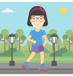 Sporty woman on roller-skates vector