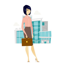 Asian business woman holding briefcase vector