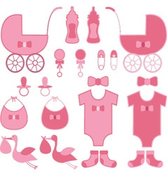 Baby shower girl elements baby announcement vector